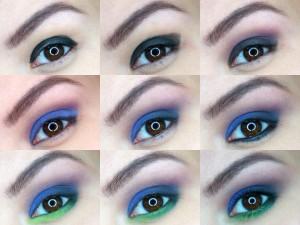 Makijaż kobaltowy z nutką zieleni
