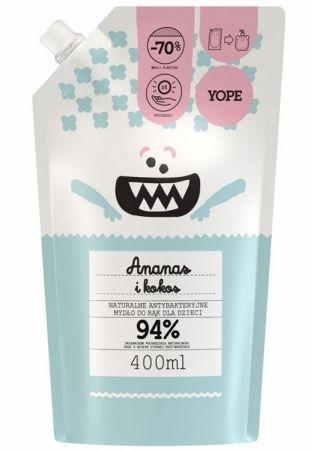 Antybakteryjne mydło do rąk dla dzieci Ananas i Kokos - refill 400ml